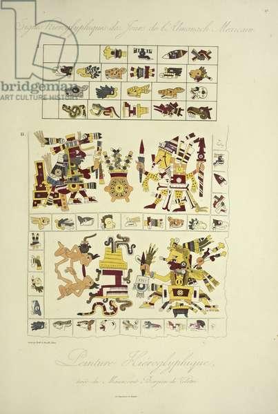 Hieroglyphic Paintings, from the Borgia Manuscript at Veletri, illustration from 'Vues des Cordillères et Monumens des Peuples Indigènes de l'Amérique' by Alexander von Humboldt and Aime Bonpland, 1813 (hand-coloured engraving)