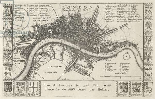 London, before the Fire in 1666 (engraving)