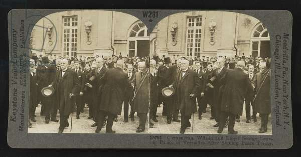 Clemenceau, Wilson and Lloyd George leaving the Palace of Versailles after signing the peace treaty, 1919 (b/w photo)