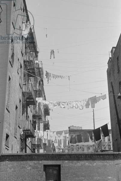 Laundry near the intersection of 1st Avenue and 61st Street, New York City, 1938 (b/w photo)