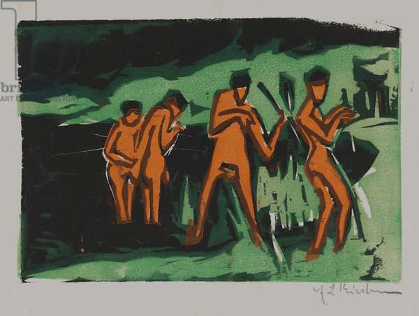 Bathers tossing reeds, 1910 (woodcut)