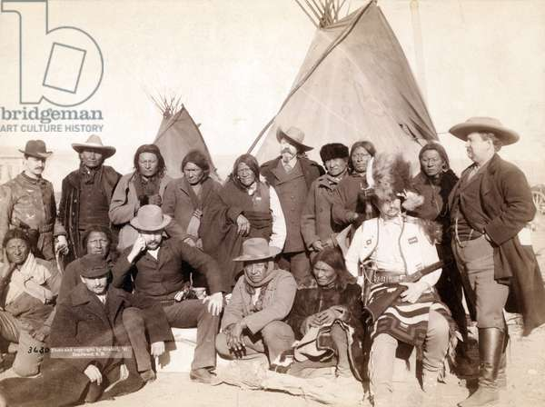 Indian chiefs and U.S. Officials at Pine Ridge, 1891 (b/w photo)