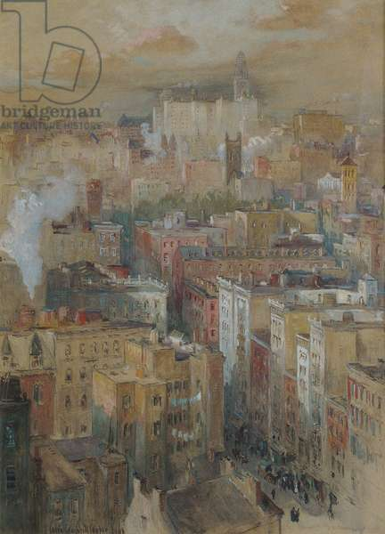 View of New York City, c.1910 (watercolour, gouache on paper)