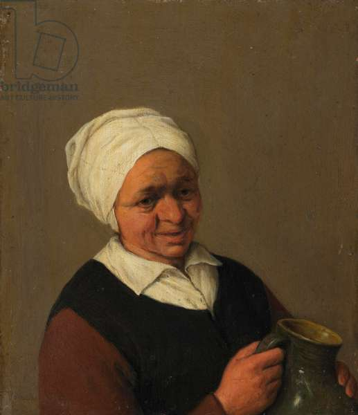 Old Peasant Woman Holding a Jug, c.1643 (oil on oak)