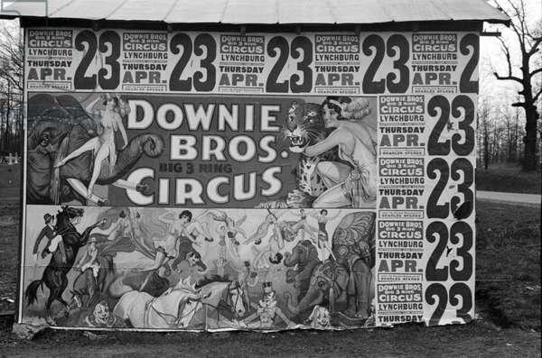 Circus poster covering a building near Lynchburg, South Carolina, 1936 (b/w photo)