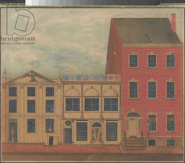 Shop and Warehouse of Duncan Phyfe on Fulton Street in New York City, c.1817-1820 ( w/c, ink, and gouache on white laid paper)