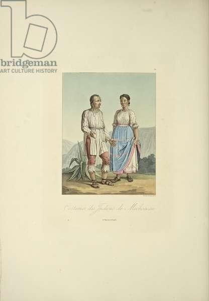 Costumes of the Mechoacan Indians, illustration from 'Vues des Cordillères et Monumens des Peuples Indigènes de l'Amérique' by Alexander von Humboldt and Aime Bonpland, 1813 (hand-coloured aquatint)