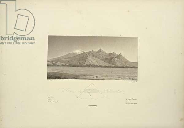 Volcanoes of Pichincha, engraved by Bouquet, illustration from 'Vues des Cordillères et Monumens des Peuples Indigènes de l'Amérique' by Alexander von Humboldt and Aime Bonpland, 1813 (engraving)