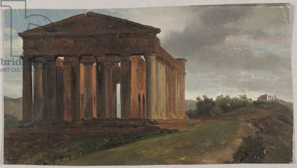 A Temple in Agrigento, Sicily (Oil on paper mounted on masonite)