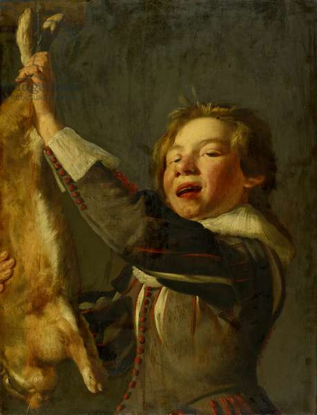 Boy with a Dead Hare (oil on wood)