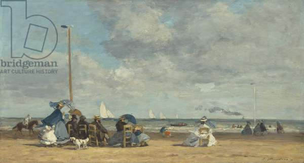 Beach at Trouville, 1864-5 (oil on wood)