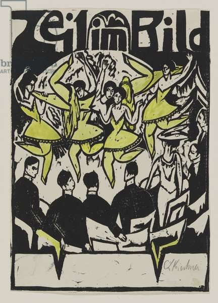 Dancers at the ice palace, 1912 (woodcut)