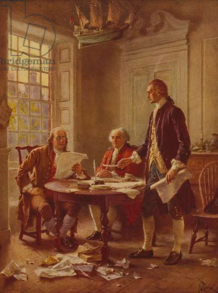 Writing the Declaration of Independence, c.1930 (photomechanical print)
