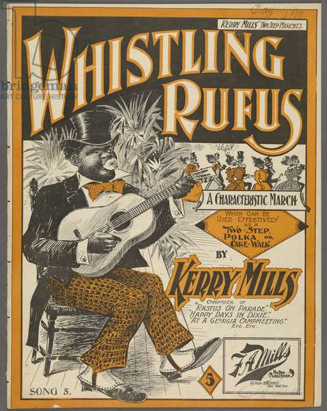 Frontispiece for 'Whistling Rufus' by Kerry Mills, c.1899 (colour litho)