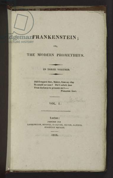 Title Page of the First Edition of 'Frankenstein', 1818 (litho)
