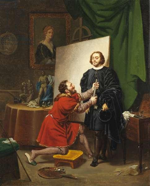 Pietro Aretino in the Studio of Tintoretto, 1822 (oil on canvas)