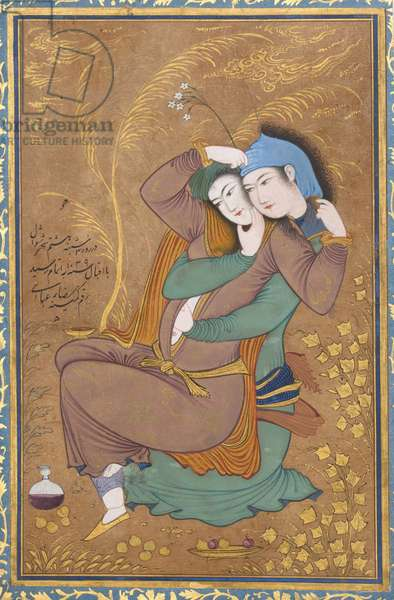 The Lovers, c.1630 (w/c, ink and gold on paper)