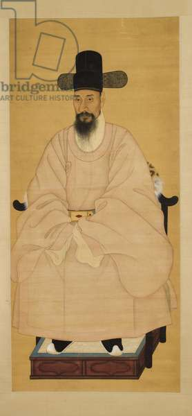 Portrait of a Scholar-Official in a Pink Robe, 19th century (hanging scroll, ink and colour on silk)