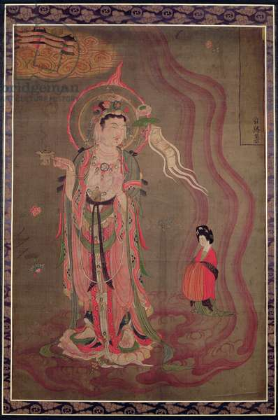 A Bodhisattva leading a lady to the Pure Land, c.851-900 (ink & colours on silk)