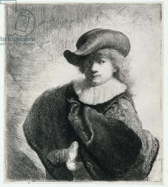 Self Portrait in a Soft Hat and Patterned Cloak, 1631 (etching)