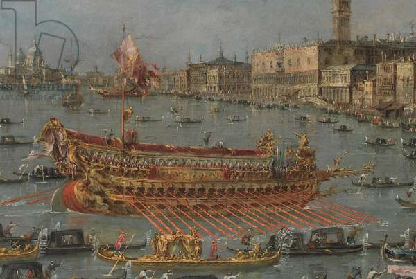 "The Bucintoro Festival of Venice. The Bacino di S. Marco with the ""Bucintoro"", the Doge's State Barge, on Ascension Day (detail), 1780-93 (oil on canvas)"