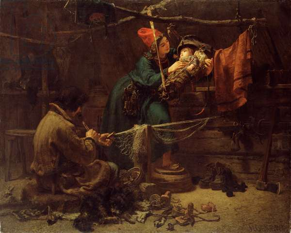 Inside a Laplander's Tent, 1857 (oil on canvas)