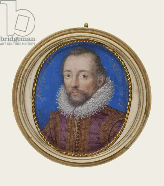 Portrait of Rhys Griffiths, 1617 (opaque watercolour and gilding on vellum, ivory frame)