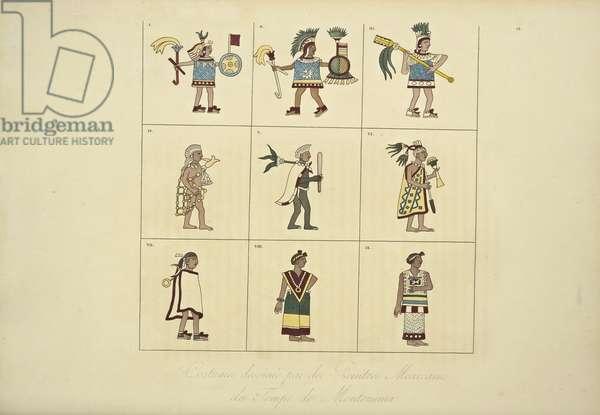 Costumes Designed by the Mexican Painters of the Time of Montezuma, illustration from 'Vues des Cordillères et Monumens des Peuples Indigènes de l'Amérique' by Alexander von Humboldt and Aime Bonpland, 1813 (hand-coloured engraving)