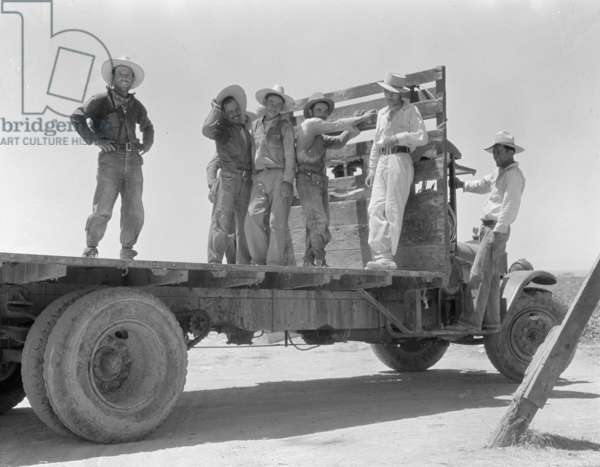Mexican agricultural workers leave for the melon fields, Imperial Valley, California, 1935 (b/w photo)