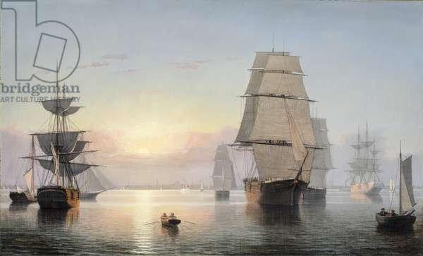 Boston Harbor, Sunset, 1850-55 (oil on canvas)