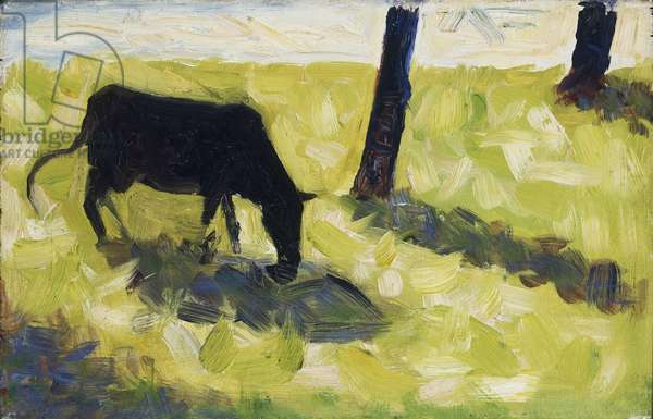 Black Cow in a Meadow, 1881 (oil on panel)