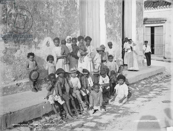 Local children in Havana, c.1900 (b/w photo)