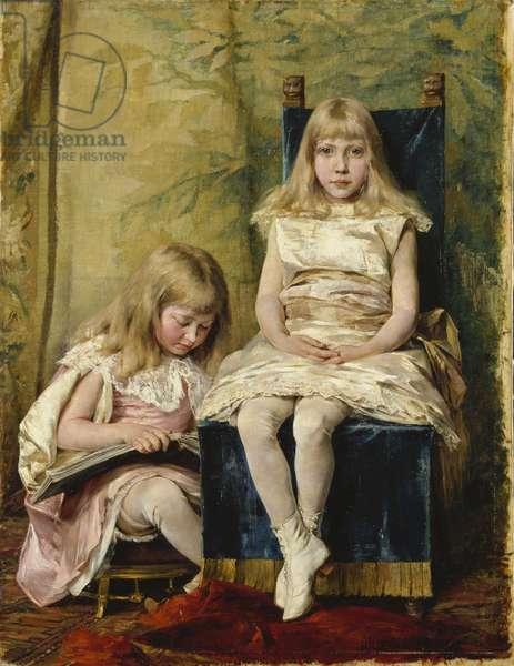 Hildegard and Alfhild Tamm, 1882 (oil on canvas)