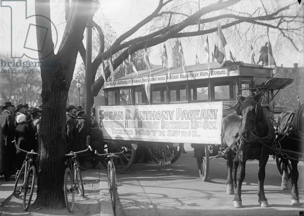 Street Car advertising the Susan B. Anthony Pageant, 1915 (b/w photo)