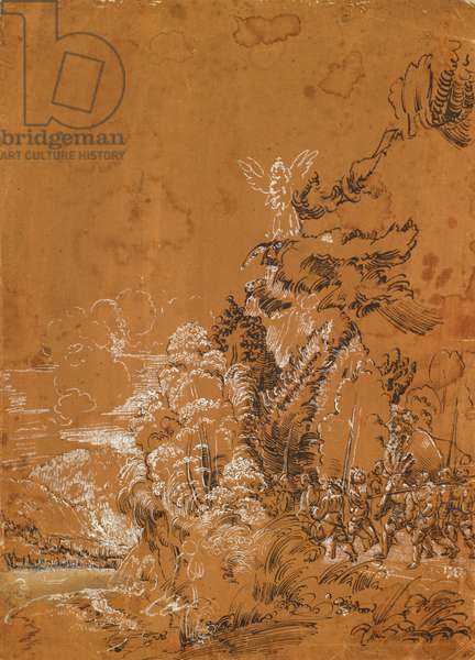 Forest landscape with angels and mercenaries (pen on brown orange paper)
