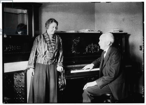Elisabeth Schumann with Richard Strauss (b/w photo)