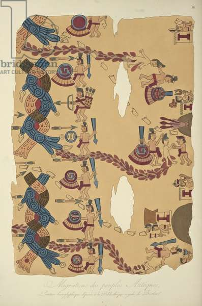 Migration of the Aztec Peoples, Hieroglyphic Painting Conserved at the Royal Library, Berlin, illustration from 'Vues des Cordillères et Monumens des Peuples Indigènes de l'Amérique' by Alexander von Humboldt and Aime Bonpland, 1813 (hand-coloured engraving)