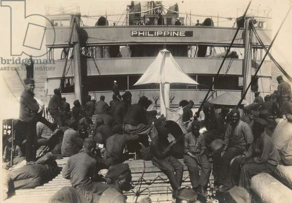 Pioneer Infantry Battalion on the troop ship U.S.S. Philippine from Brest harbor, France, July 18, 1919 (b/w photo)
