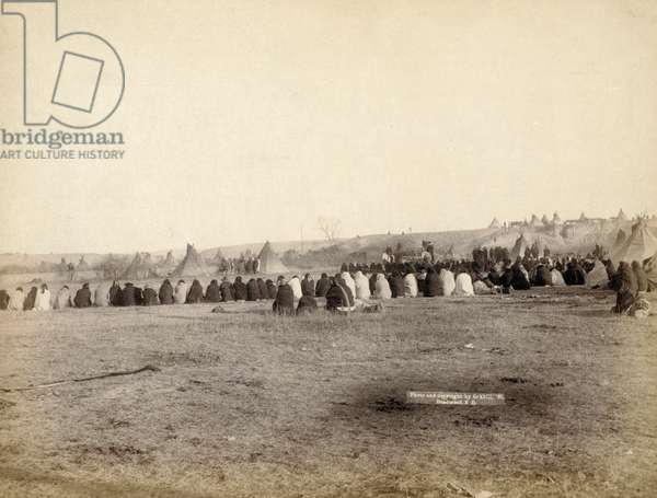 Indian Council in hostile camp, 1891 (b/w photo)