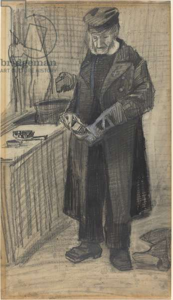 Man Polishing a Boot, 1882 (black chalk and gray wash, with white heightening on wove paper)