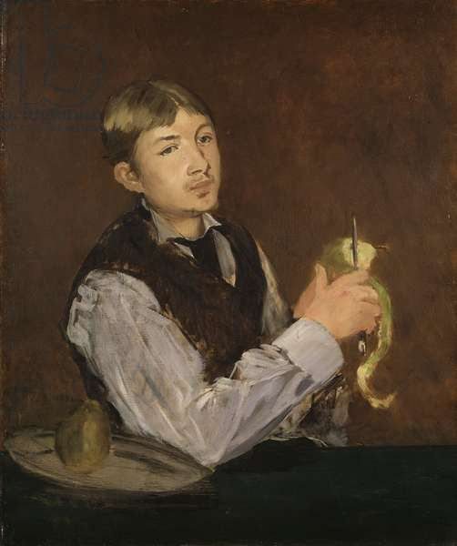 Young Boy Peeling a Pear, c.1867 (oil on canvas)