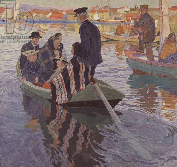 Church Goers in a Boat, 1909 (oil on canvas)