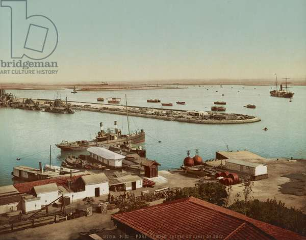 Port Tewfic, entrance to the Suez Canal, c.1900 (colour photochrom)