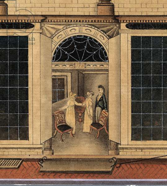 Detail of the Shop and Warehouse of Duncan Phyfe on Fulton Street in New York City, c.1817-1820 (w/c, ink, and gouache on white laid paper)