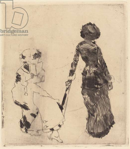 Mary Cassatt at the Louvre: The Etruscan Gallery, 1879-80 (soft-ground etching and drypoint on laid paper)
