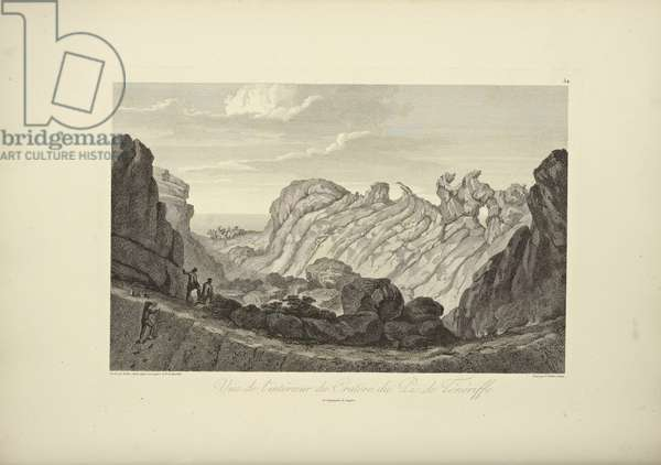 View of the Interior of the Crater of the Peak of Tenerife, drawn by Gmelin, illustration from 'Vues des Cordillères et Monumens des Peuples Indigènes de l'Amérique' by Alexander von Humboldt and Aime Bonpland, 1813 (engraving)
