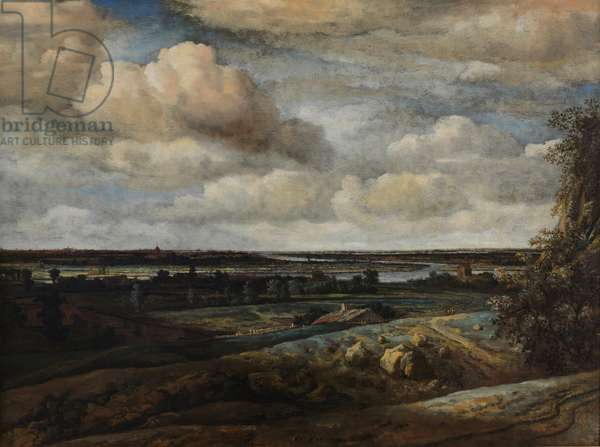 Dutch Panorama Landscape with a River, 1654 (oil on canvas)