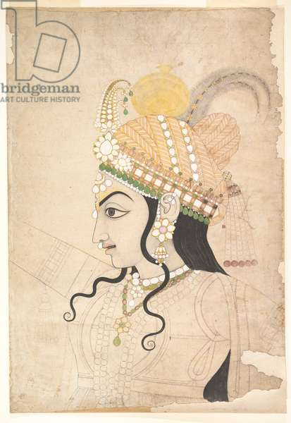 Head of Krishna: cartoon for a mural of the Raslila, c.1800 (ink and watercolour on paper)
