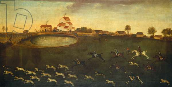 Hunting scene with a pond, 18th century (oil on canvas)