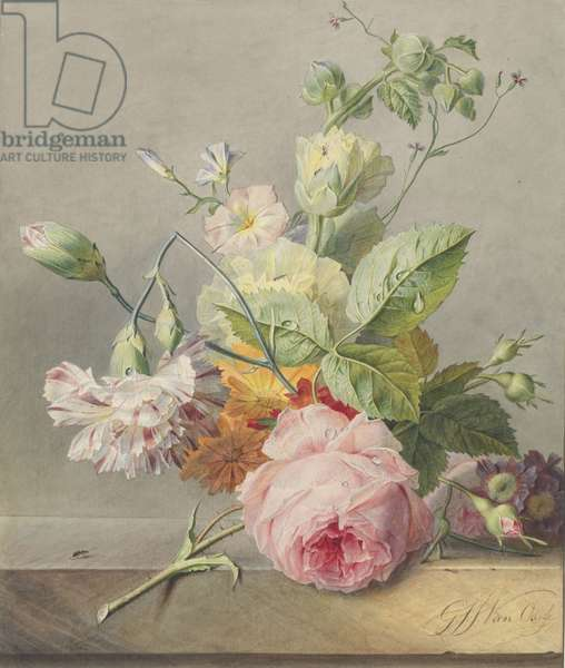 Floral Still Life, c.1800-25 (w/c and pencil on paper)